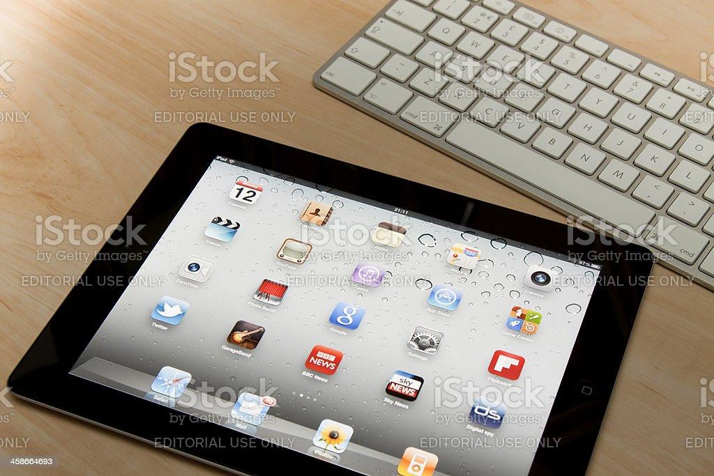 Apple iPad 2 and Aluminium Keyboard. royalty-free stock photo