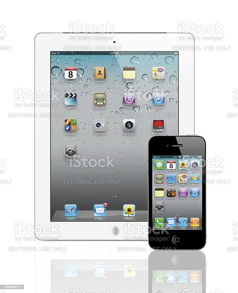 Apple iPad 2 And iPhone4 royalty-free stock photo