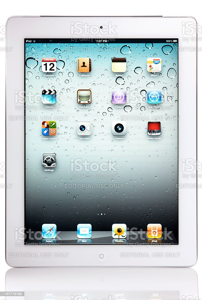 Apple iPad 2 Wi-Fi + 3G with Clipping Paths royalty-free stock photo
