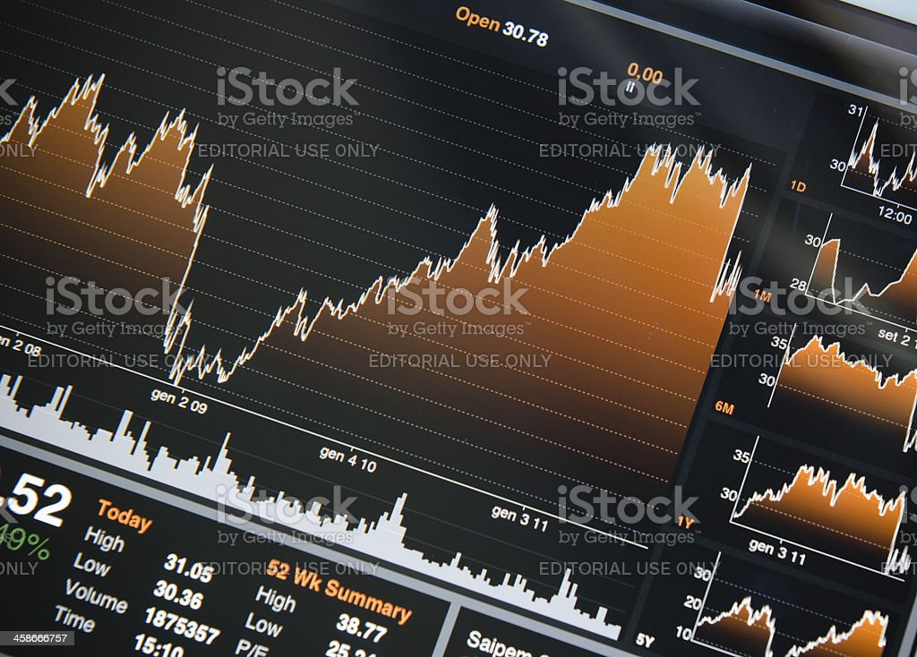 Apple ipad 2 with Bloomberg market trading apps royalty-free stock photo