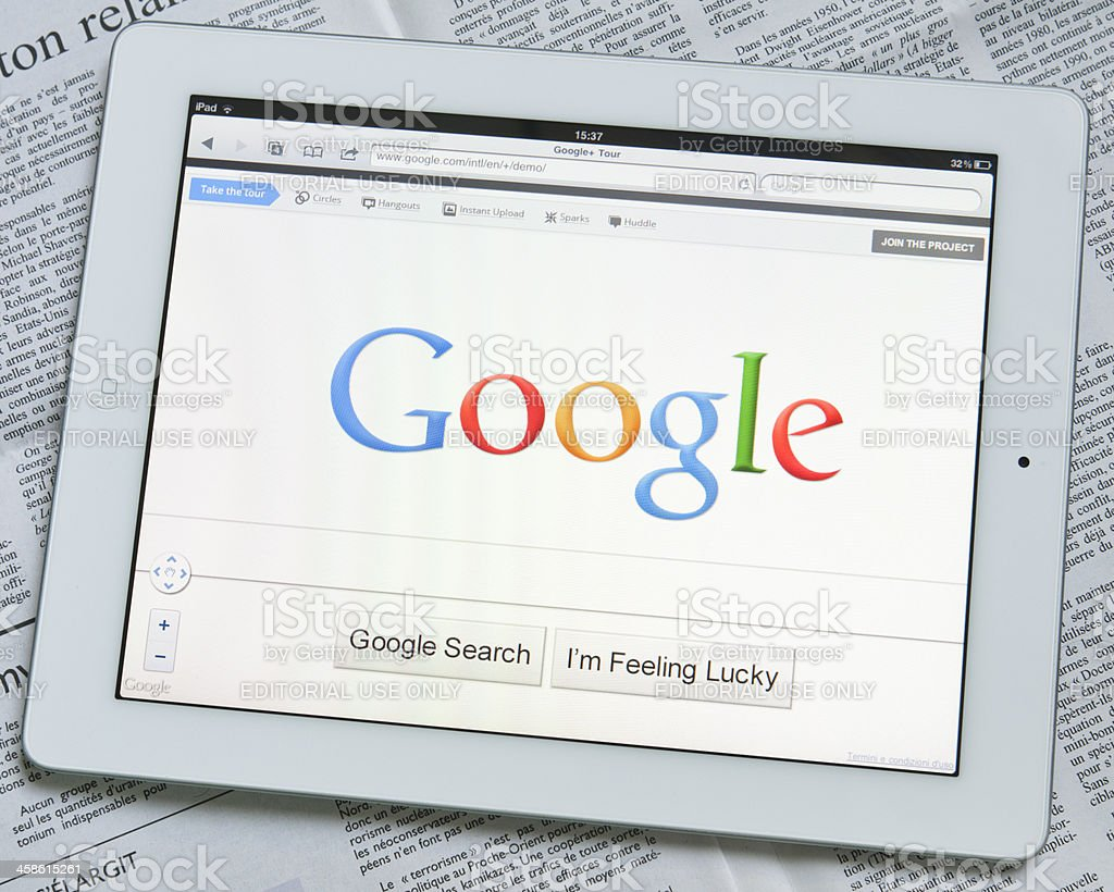 Apple Ipad 2 with Google search engine on screen royalty-free stock photo