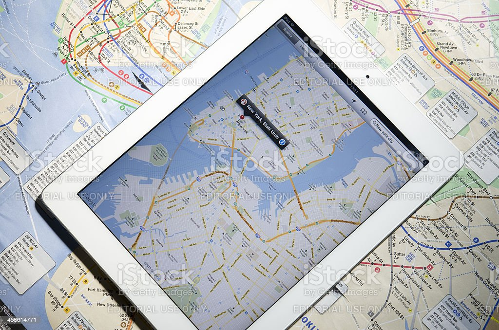 Apple Ipad 2 with New York City maps royalty-free stock photo