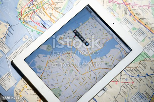 istock Apple Ipad 2 with New York City maps 458614771