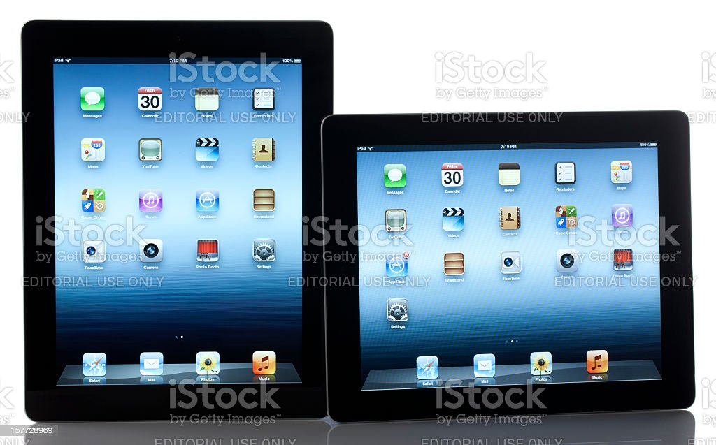 Apple iPad 3 and 2 Black Wi-Fi Models royalty-free stock photo