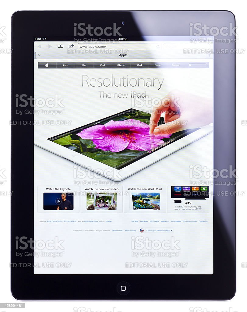 Apple iPad 3 (the new iPad), isolated, clipping path royalty-free stock photo