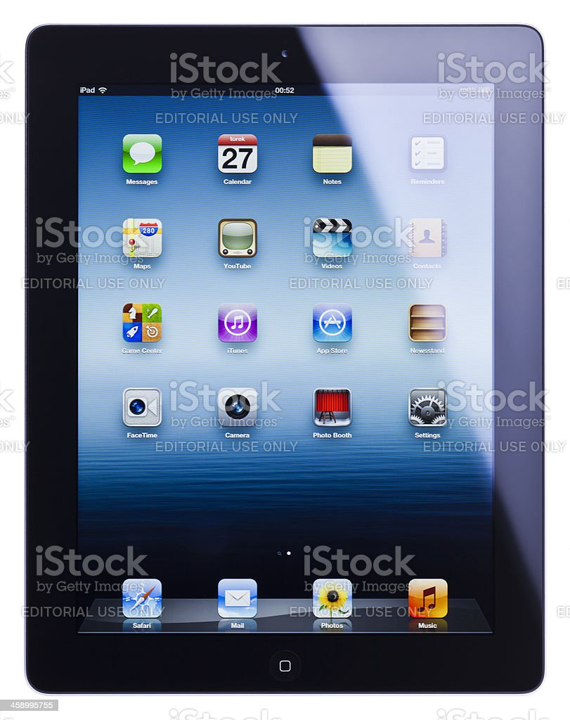 Apple iPad 3, (the new iPad), isolated, clipping path royalty-free stock photo