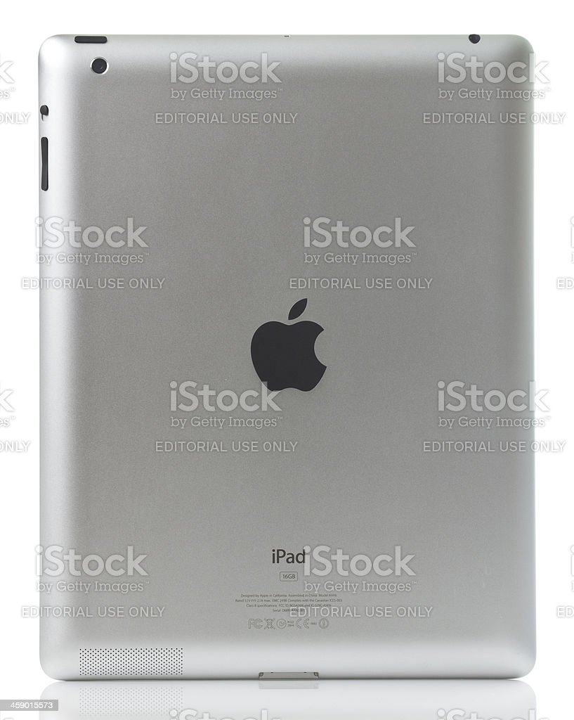 Apple iPad 3 W-Fi Model Back Side with Clipping Path royalty-free stock photo
