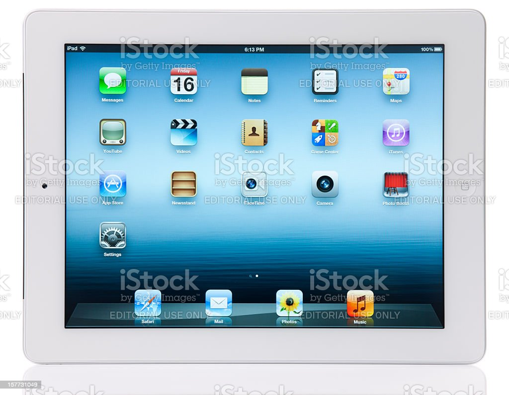 Apple iPad 3 Wi-Fi + 4G with Clipping Paths royalty-free stock photo