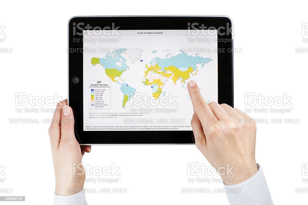 Apple iPad 3G with World Map royalty-free stock photo