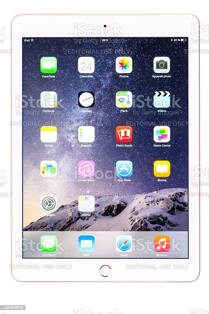 Apple iPad Air 2 Gold White stock photo
