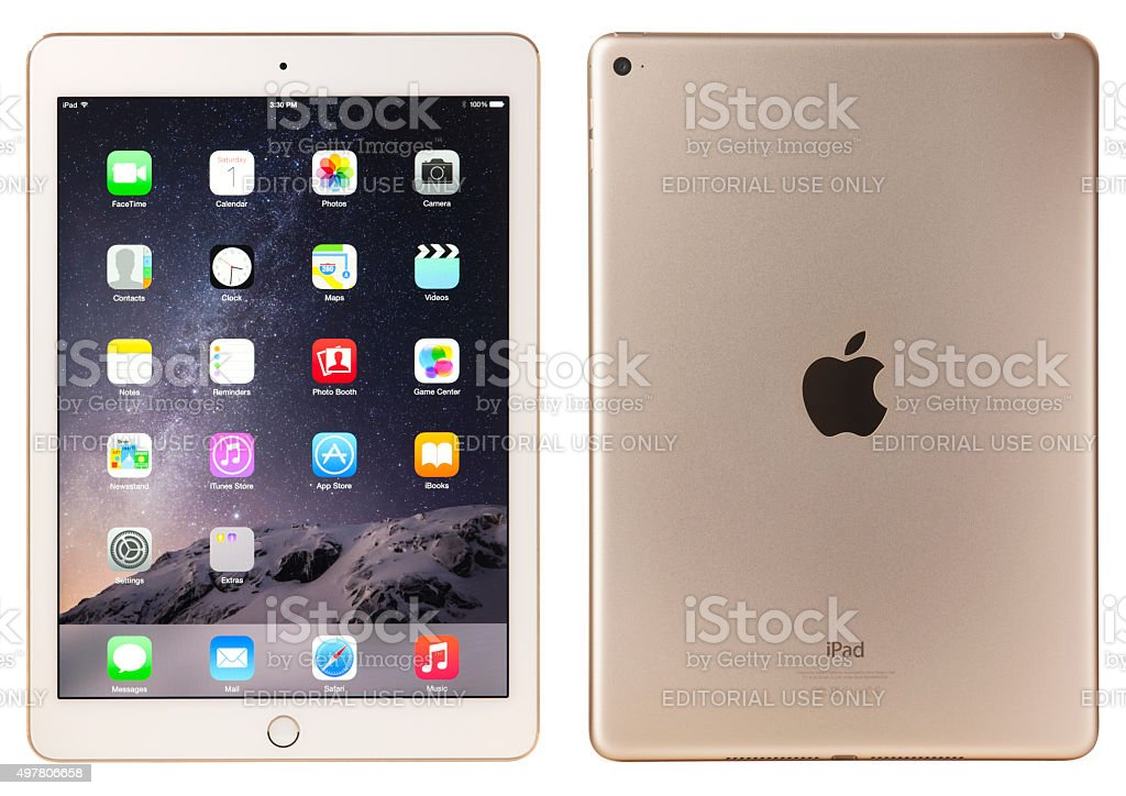 Apple iPad Air 2 Gold White with Clipping Paths stock photo