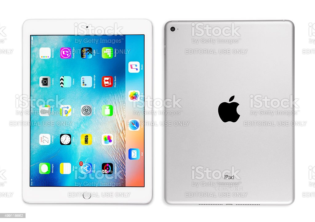 Apple iPad Air 2 Silver Front And Back Side stock photo