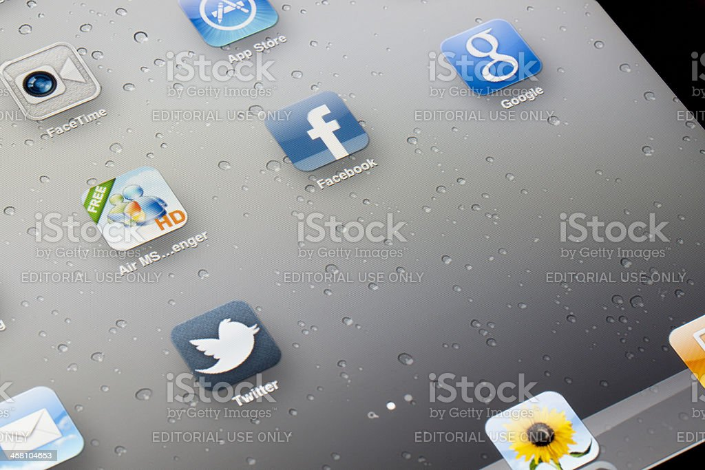 Apple iPad Apps for Social Network Service royalty-free stock photo