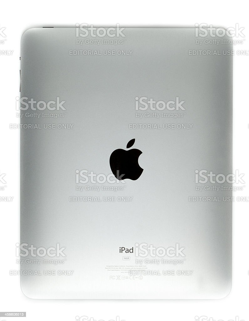 Apple iPad back on white royalty-free stock photo