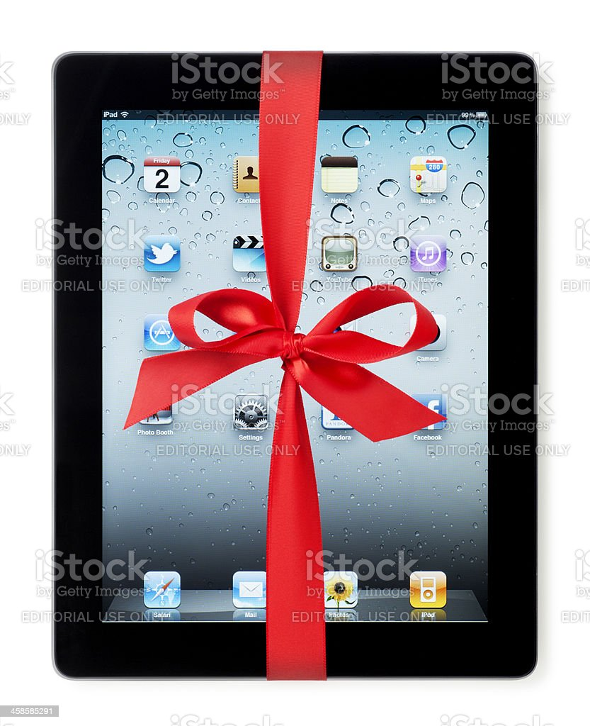Apple iPad II with Red Bow royalty-free stock photo
