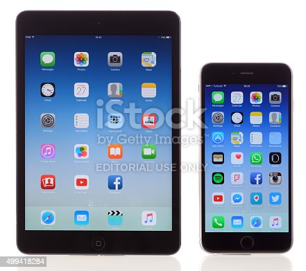 İstanbul, Turkey - November 28, 2015: iPhone 6 Plus and Apple iPad Mini a white background. The iPhone 6 Plus is a touchscreen smartphone, iPad Mini is a digital tablet, developed by Apple Inc.