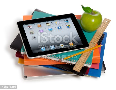 istock Apple iPad on a Stack of Books 458571389