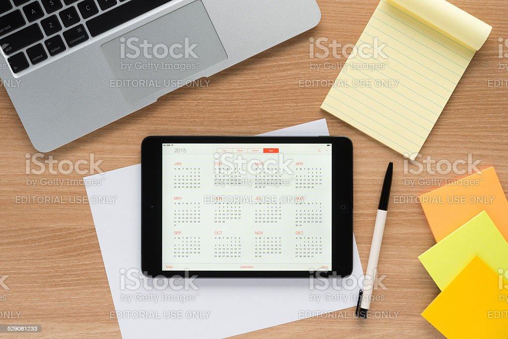 Apple iPad on a worktable stock photo