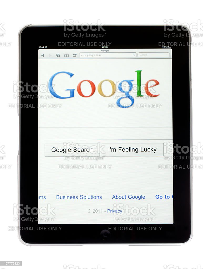 Apple Ipad tablet with picture of Google browser on screen royalty-free stock photo