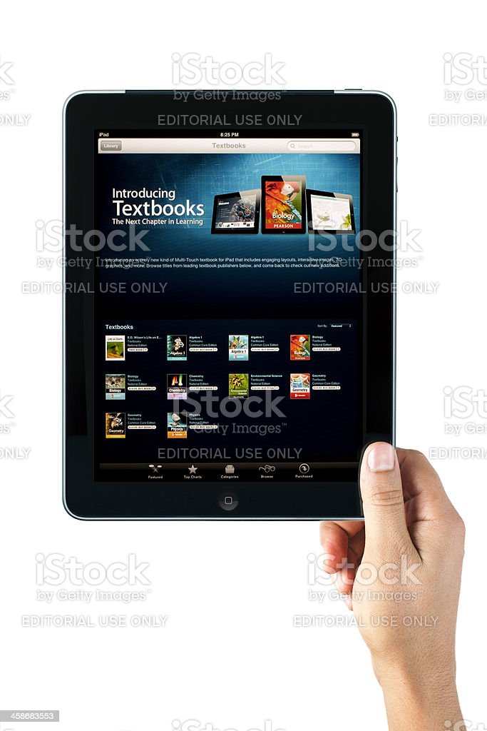 Apple iPad with Textbooks Screen royalty-free stock photo