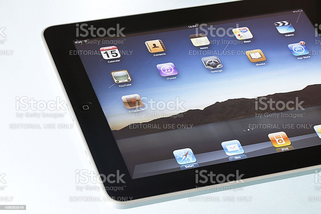 Apple iPad2 displaying homescreen royalty-free stock photo