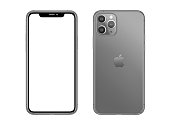 New York, USA- November 24, 2019: Studio shoot of gray color Apple iPhone 11 smartphone with blank screen and rear on white background
