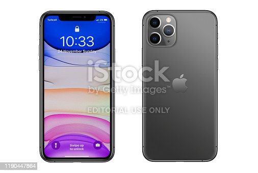 New York, USA- November 24, 2019: Front and rear side of Apple iPhone 11 Pro Gray smartphone on white background. iPhone 11 was released on September 20, 2019.