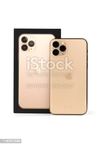 istock Apple iPhone 11 Pro on a white background. 1182972085