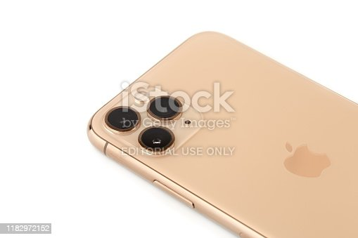 istock Apple iPhone 11 Pro on a white background. 1182972152