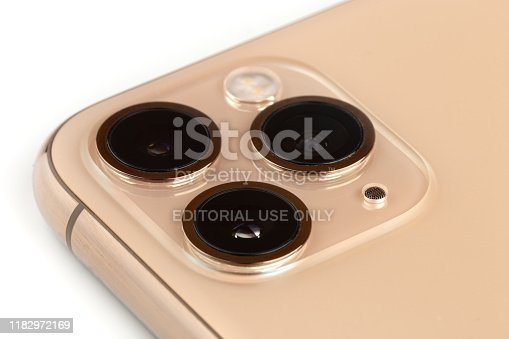 istock Apple iPhone 11 Pro on a white background. 1182972169