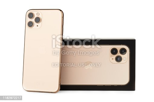 istock Apple iPhone 11 Pro on a white background. 1182972217