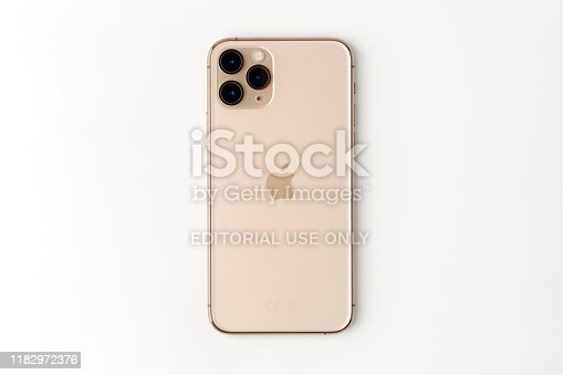 istock Apple iPhone 11 Pro on a white background. 1182972376