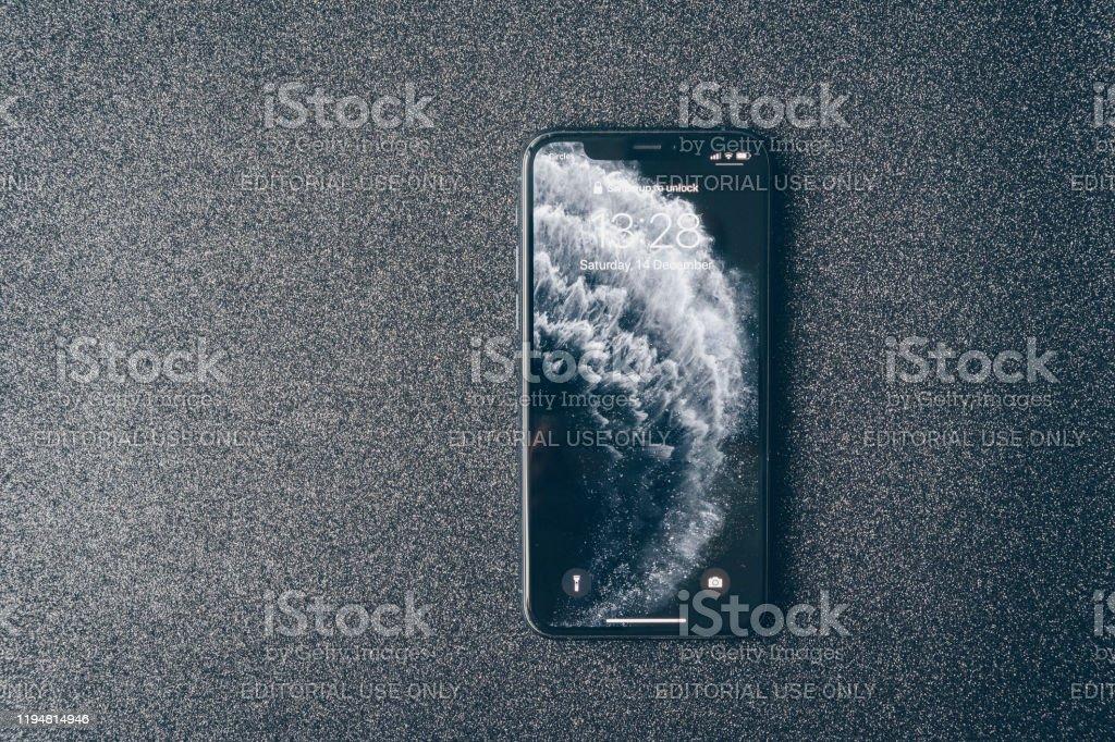 Apple Iphone 11 Pro On Luxury Dark Background Stock Photo Download Image Now Istock