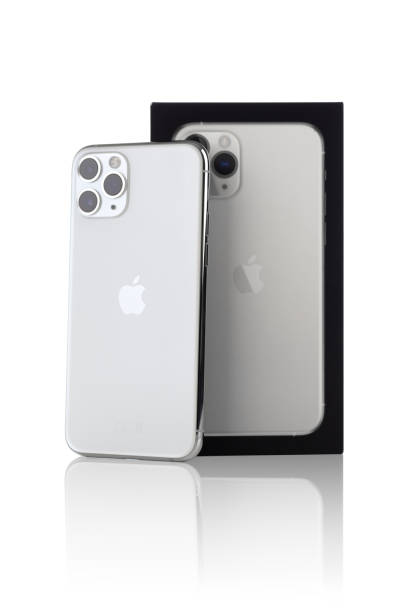 apple iphone 11 pro silver color on a white background. - iphone zdjęcia i obrazy z banku zdjęć