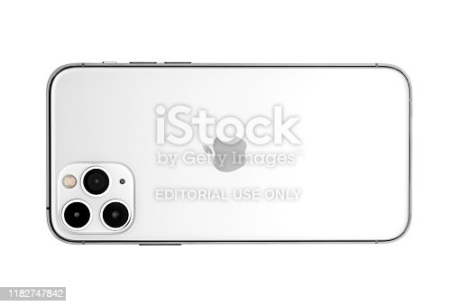 istock Apple iPhone 11pro Silver White Blank Screen and Rear view 1182747842
