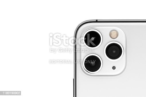 istock Apple iPhone 11pro Silver White Blank Screen and Rear view 1183190902