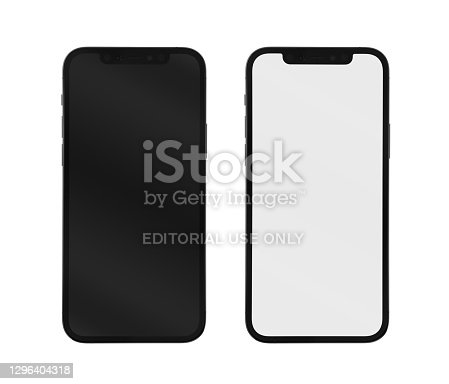 Antalya, Turkey - January 15, 2021. Apple iPhone 12 Pro smartphone with 6.1-inch display, Graphite color version. Isolated on white background. Clipping paths (screen and body) included. Studio shot. taken by Fujifilm GFX50s