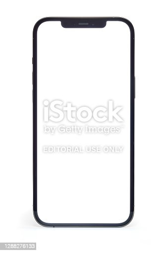 Ljubljana, Slovenia - November 27, 2020. An Apple iPhone 12 Pro Max smartphone with 6.7-inch Super Retina XDR display, Graphite color version with 512 GB memory, isolated on white background. Clipping path included. HiRes photo taken by Sony a7R II, 42 Mpix.