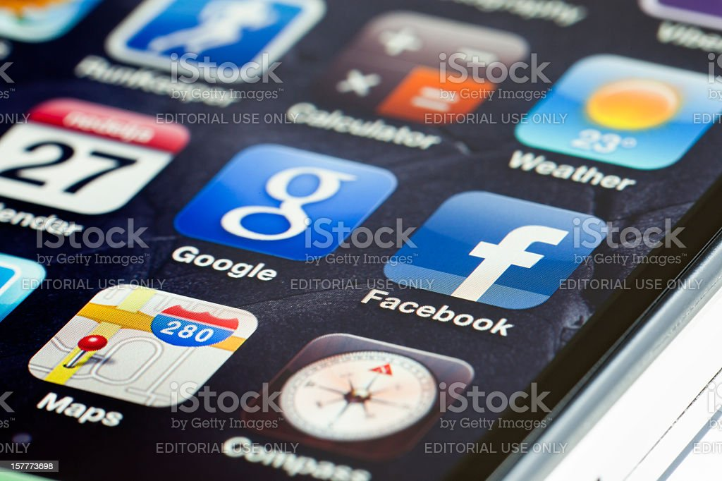 Apple iPhone 4 apps icons royalty-free stock photo