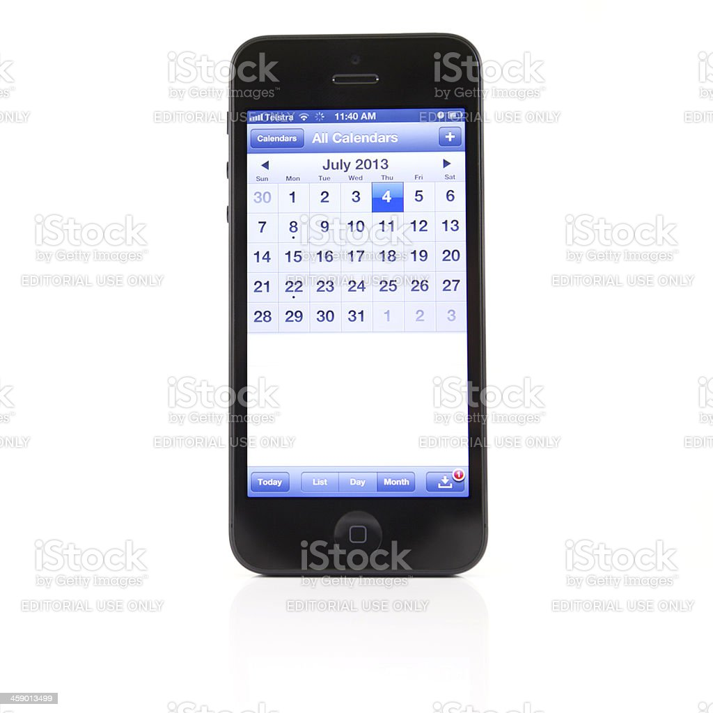Apple iPhone 4 - Calendar date for 4th of July royalty-free stock photo