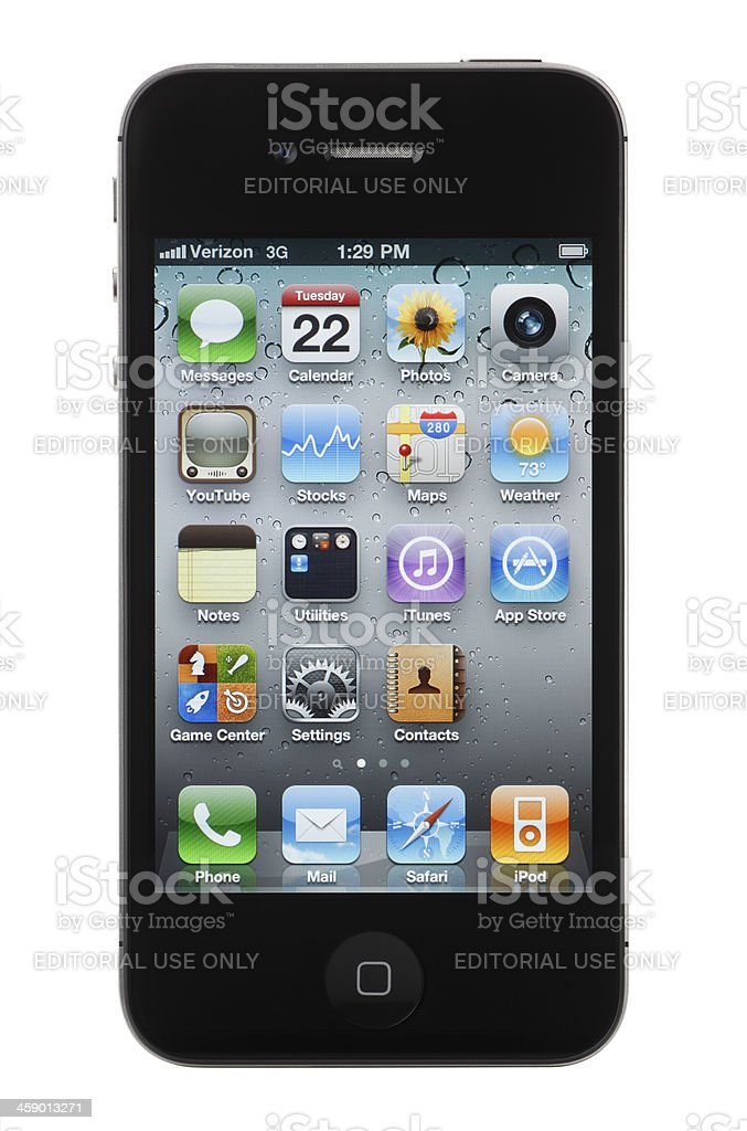 Apple iPhone 4 with Clipping Path (Verizon Wireless) stock photo