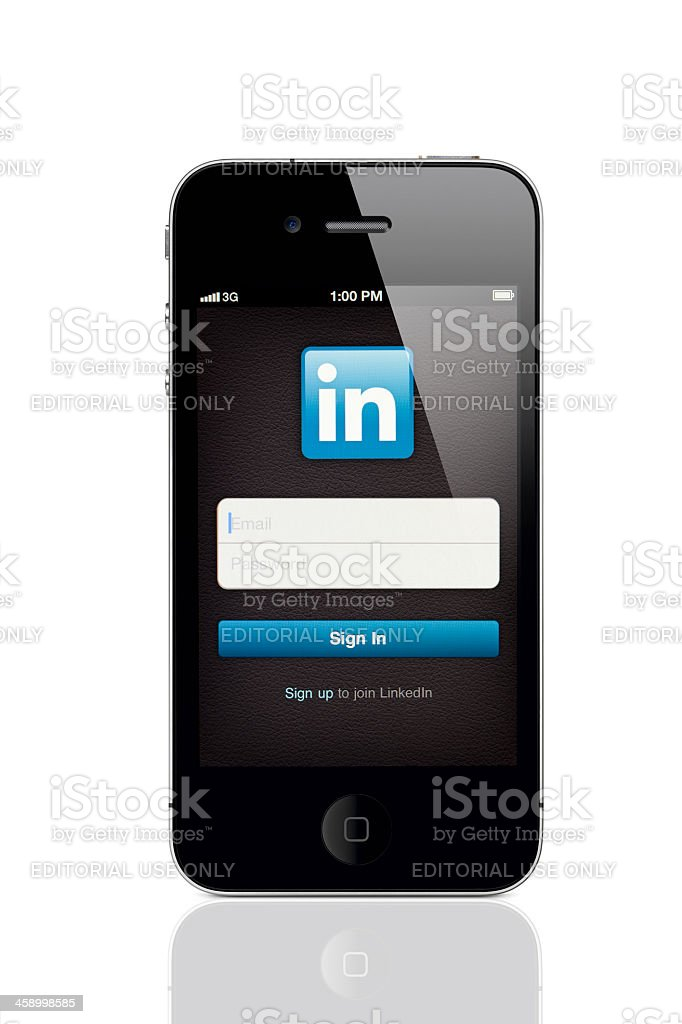Apple iPhone 4 with LinkedIn Login Screen stock photo