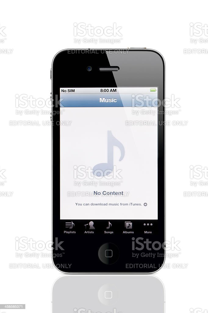 Apple iPhone 4 with Music Application Screen royalty-free stock photo