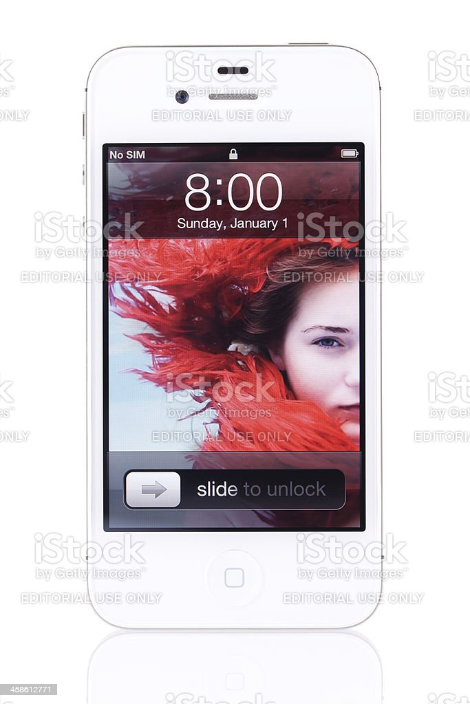 Apple iPhone 4s White with Lock Screen royalty-free stock photo