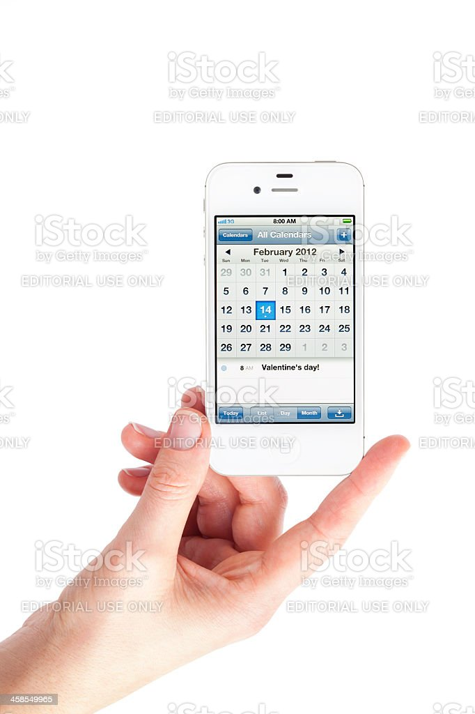 Apple iPHone 4S with Calendar royalty-free stock photo