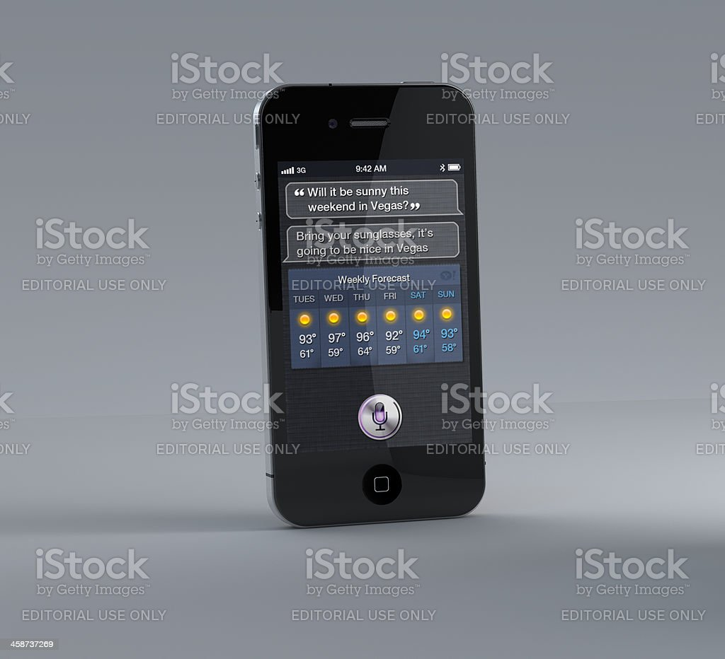 Apple iPhone 4S with Siri App royalty-free stock photo