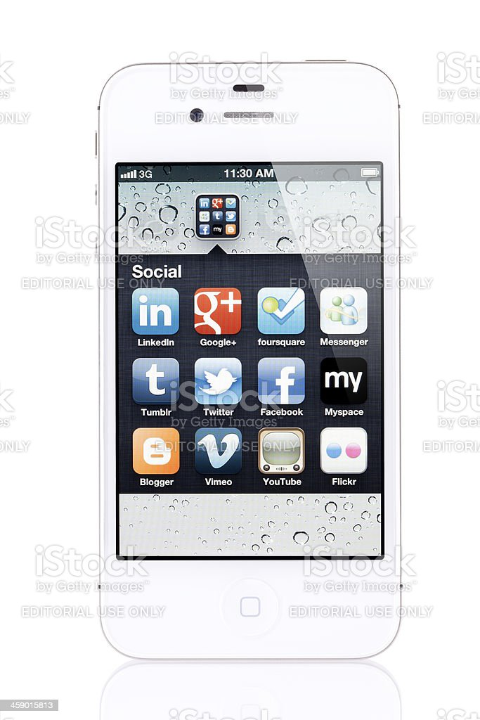 Apple iPhone 4s with Social Application Icons royalty-free stock photo