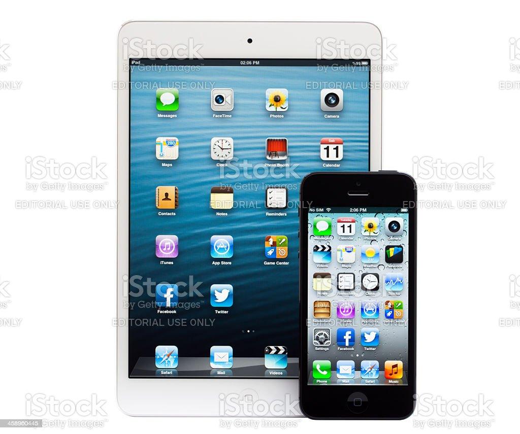 Apple iPhone 5 and iPad Mini royalty-free stock photo