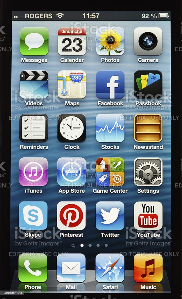 Apple iPhone 5 Home Screen Close Up royalty-free stock photo
