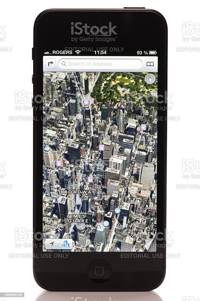 Apple iPhone 5 Maps Application Isolated on White Background royalty-free stock photo